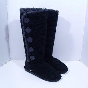 Muk Luks Sweater Boots A La Mode Black Buttons